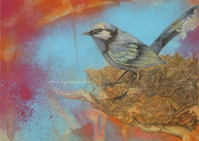 bird in nest mixed media wm