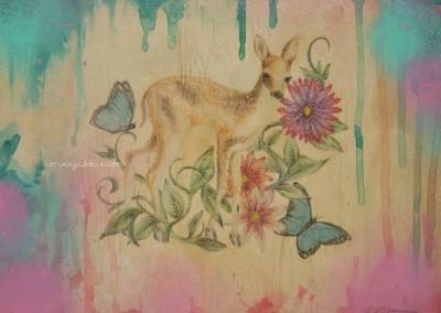 deer and flowers mixed media wm